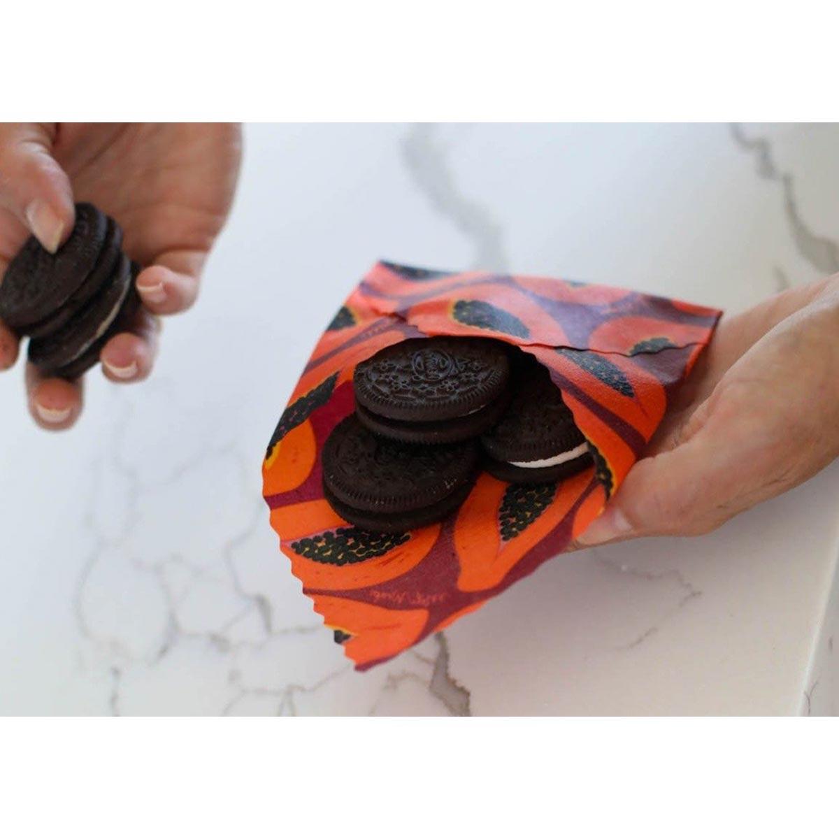 Meli Wraps 3-Pack (Sm/Med/Lrg) Reusable Beeswax Food Wrap, Purple Papaya Print