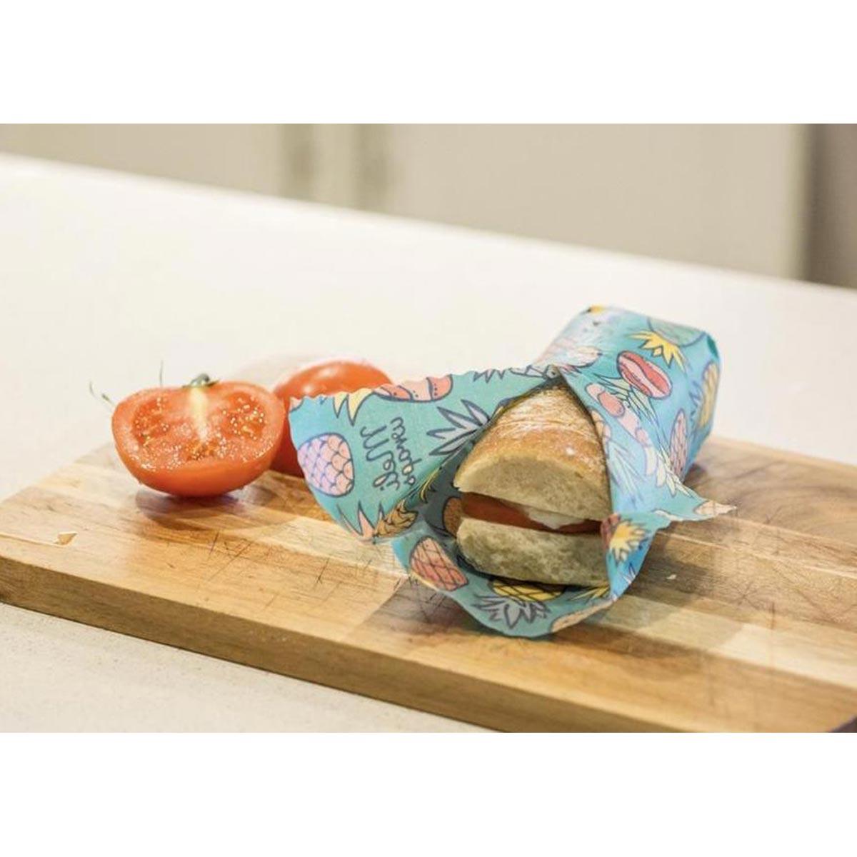 Meli Wraps 3-Pack (Sm/Med/Lrg) Reusable Beeswax Food Wrap, Pineapple Print