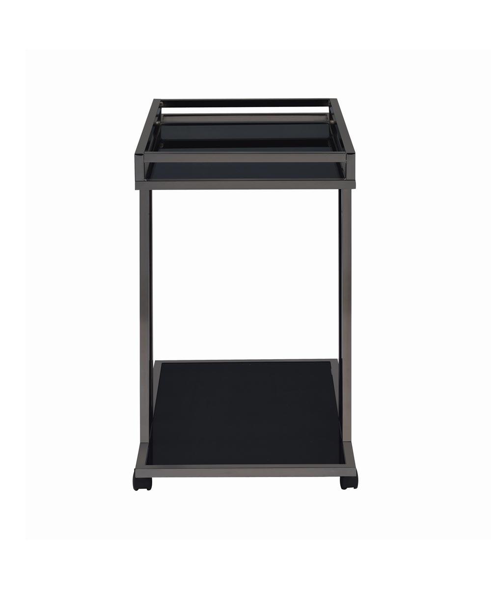 2-Shelf Bar Serving Cart, Black Nickel/Black