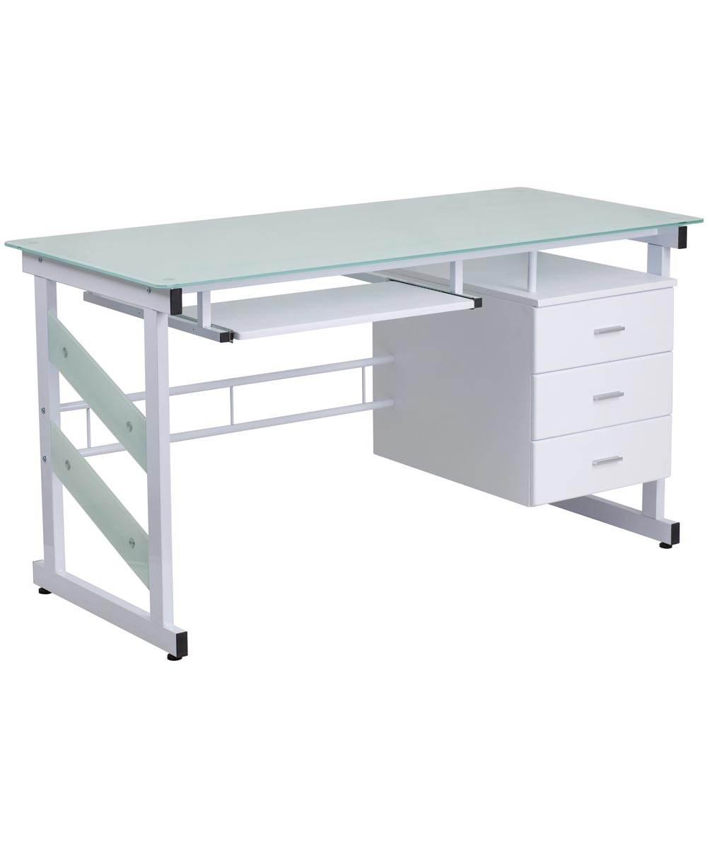 Picture of: Computer Desk With Frosted Glass Top And 3 Drawer Pedestal White City Mill