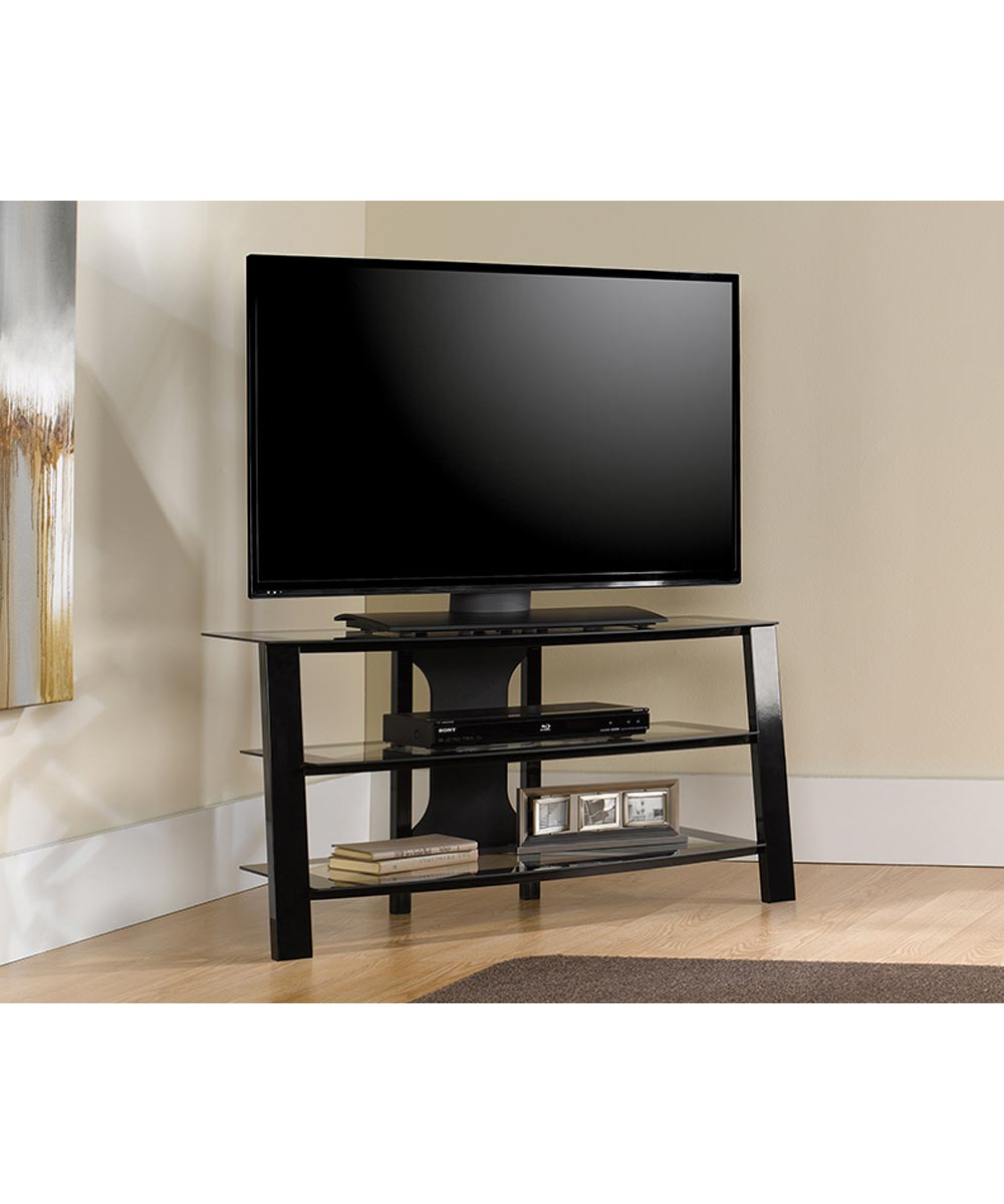 Mirage Panel TV Stand, Black/Clear Glass Glass Finish