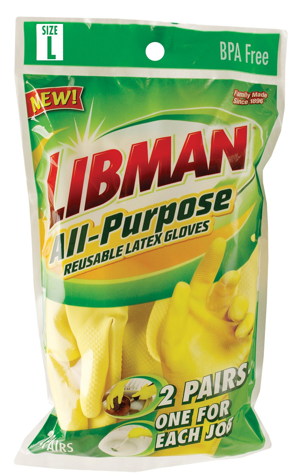 Libman Large All-Purpose Latex Gloves, 2 Pairs, Yellow