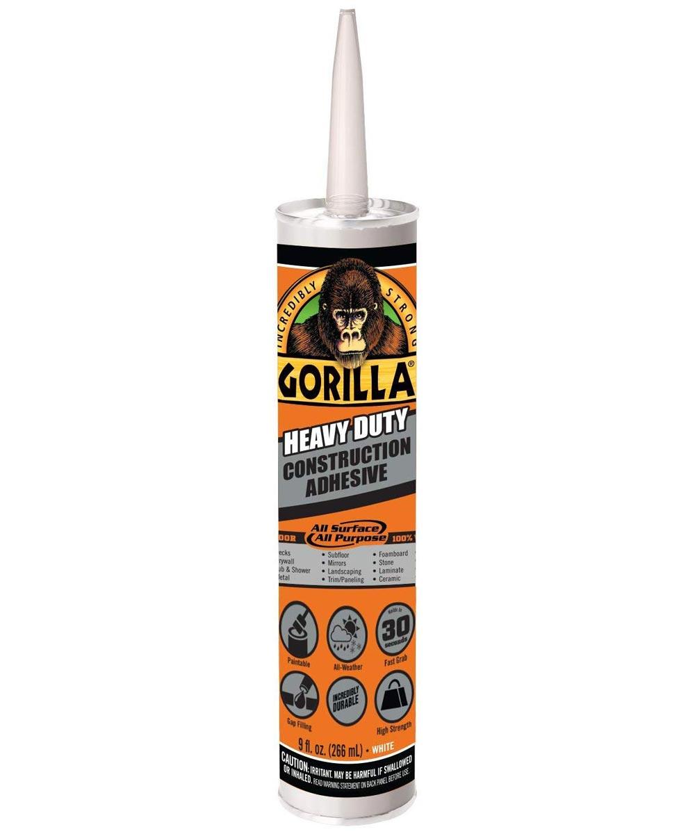 Gorilla Heavy Duty Construction Adhesive, 9 oz. Cartridge