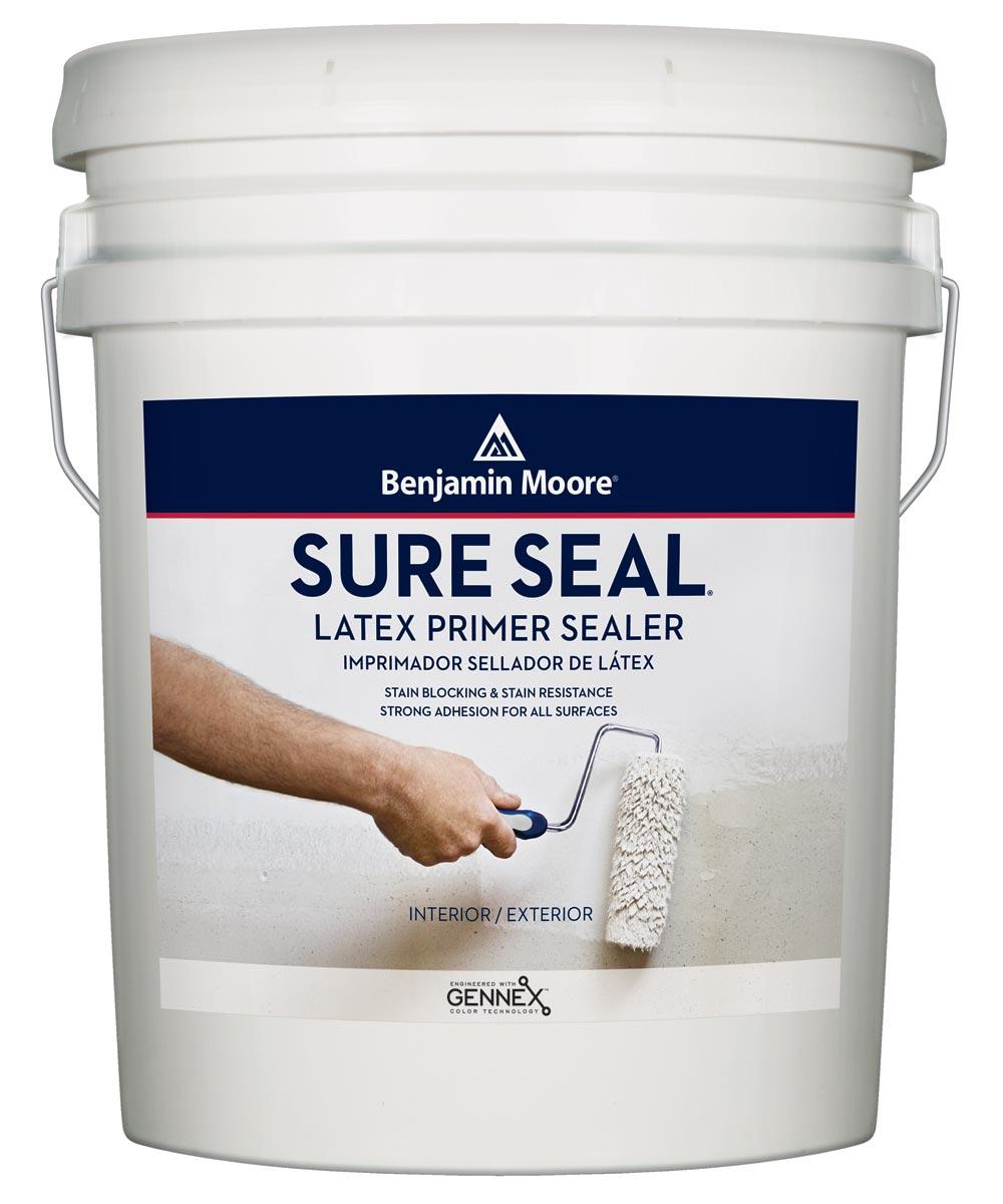 Benjamin Moore Sure Seal Latex Primer Sealer, White, 5 Gallons