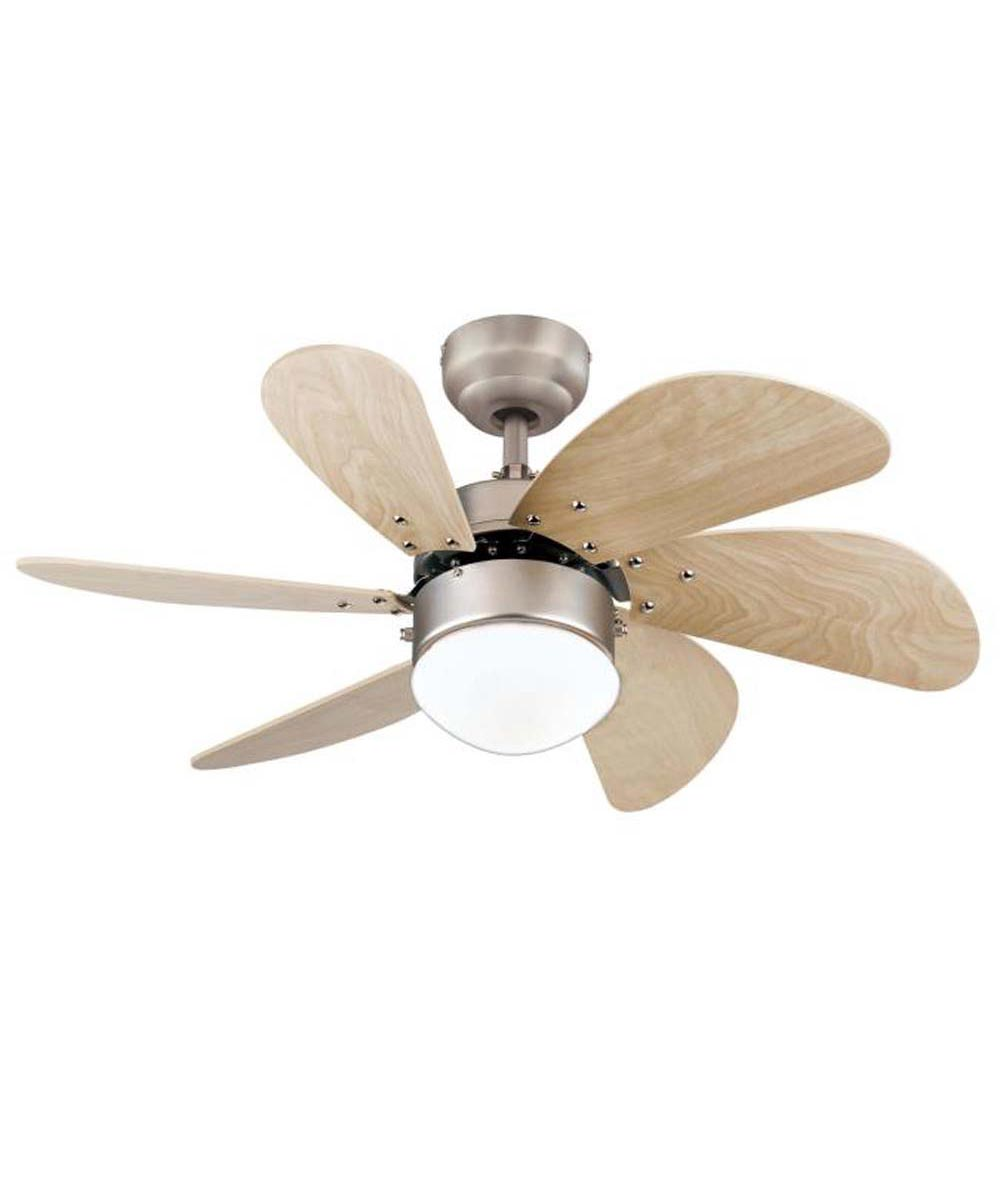 Westinghouse 30 in. Turbo Swirl 6 Blade Ceiling Fan with Dimmable LED Light, Brushed Aluminum