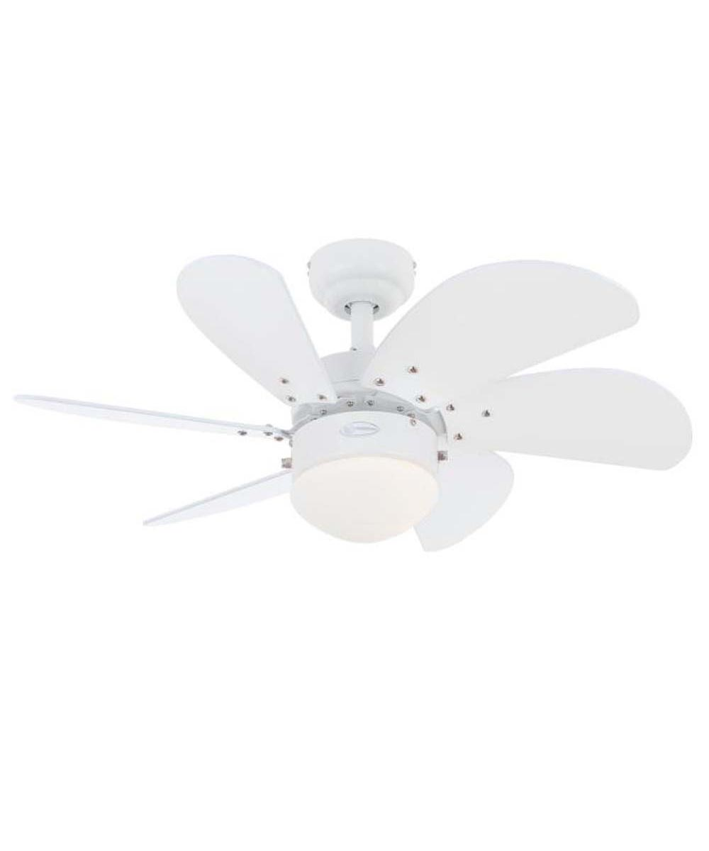 Westinghouse 30 in. Turbo Swirl 6 Blade Ceiling Fan with Dimmable LED Light, White