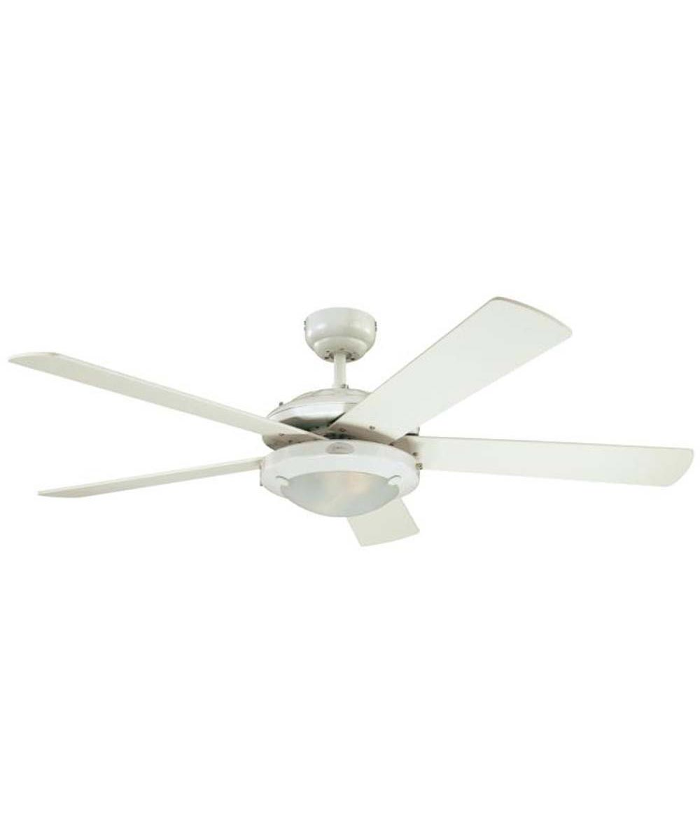 Westinghouse 52 in. Comet 5 Blade Ceiling Fan with Dimmable LED Light, White
