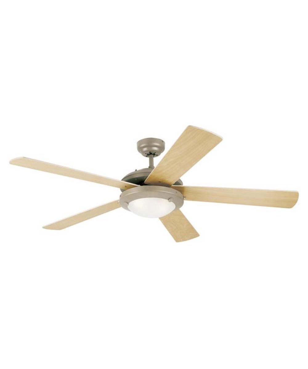 Westinghouse 52 in. Comet 5 Blade Ceiling Fan with Dimmable LED Light, Brushed Pewter