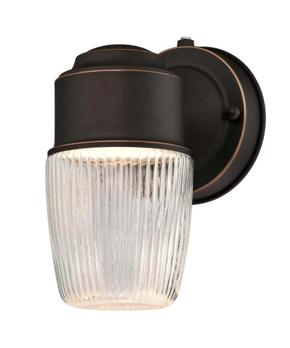 Westinghouse 1-Light LED Outdoor Wall Fixture with Dusk to Dawn Sensor, Clear Ribbed Glass, Oil Rubbed Bronze (ENERGY STAR)