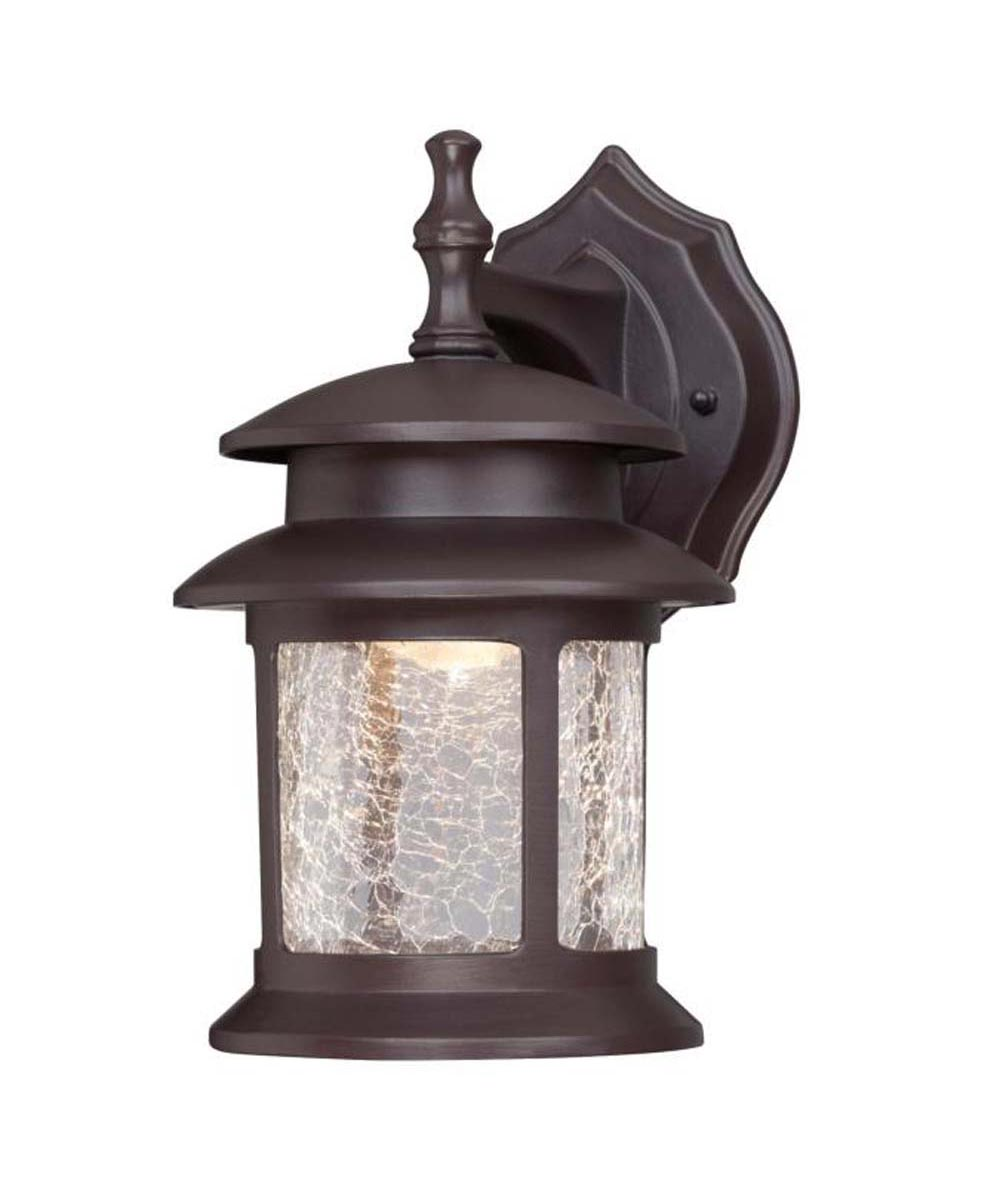 Westinghouse 1-Light LED Outdoor Wall Fixture  with Crackle Glass, Oil Rubbed Bronze