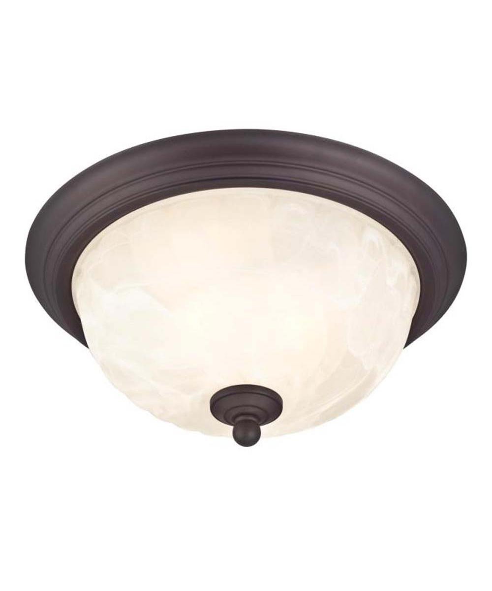 Westinghouse Naveen 2-Light Outdoor Flush-Mount Fixture with  Steel with White Alabaster Glass, Oil Rubbed Bronze