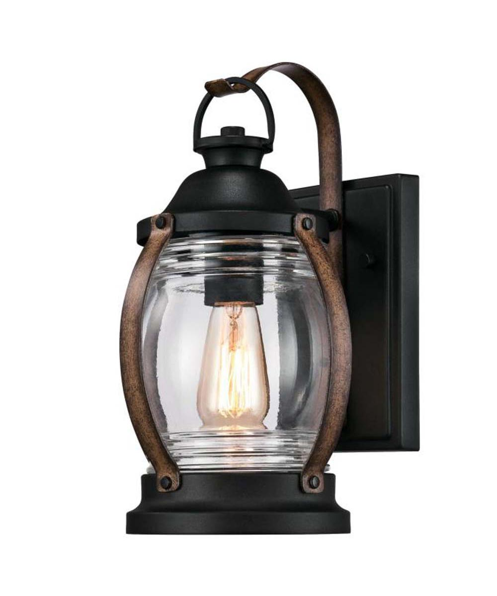 Westinghouse Canyon 1-Light Outdoor Wall Fixture with Clear Glass, Textured Black and Barnwood