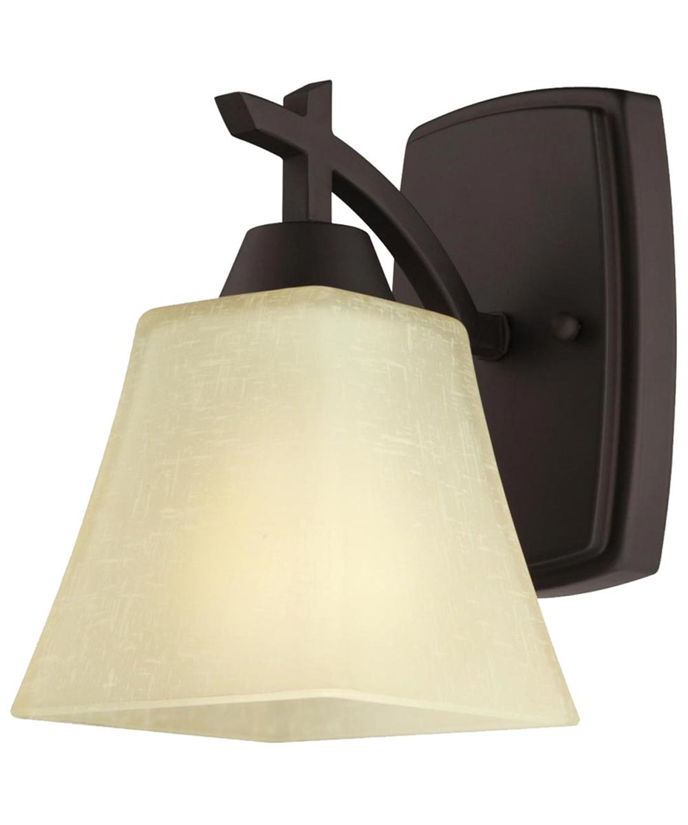 Westinghouse Midori 1-Light Indoor Wall Fixture with Amber Linen Glass, Oil Rubbed Bronze