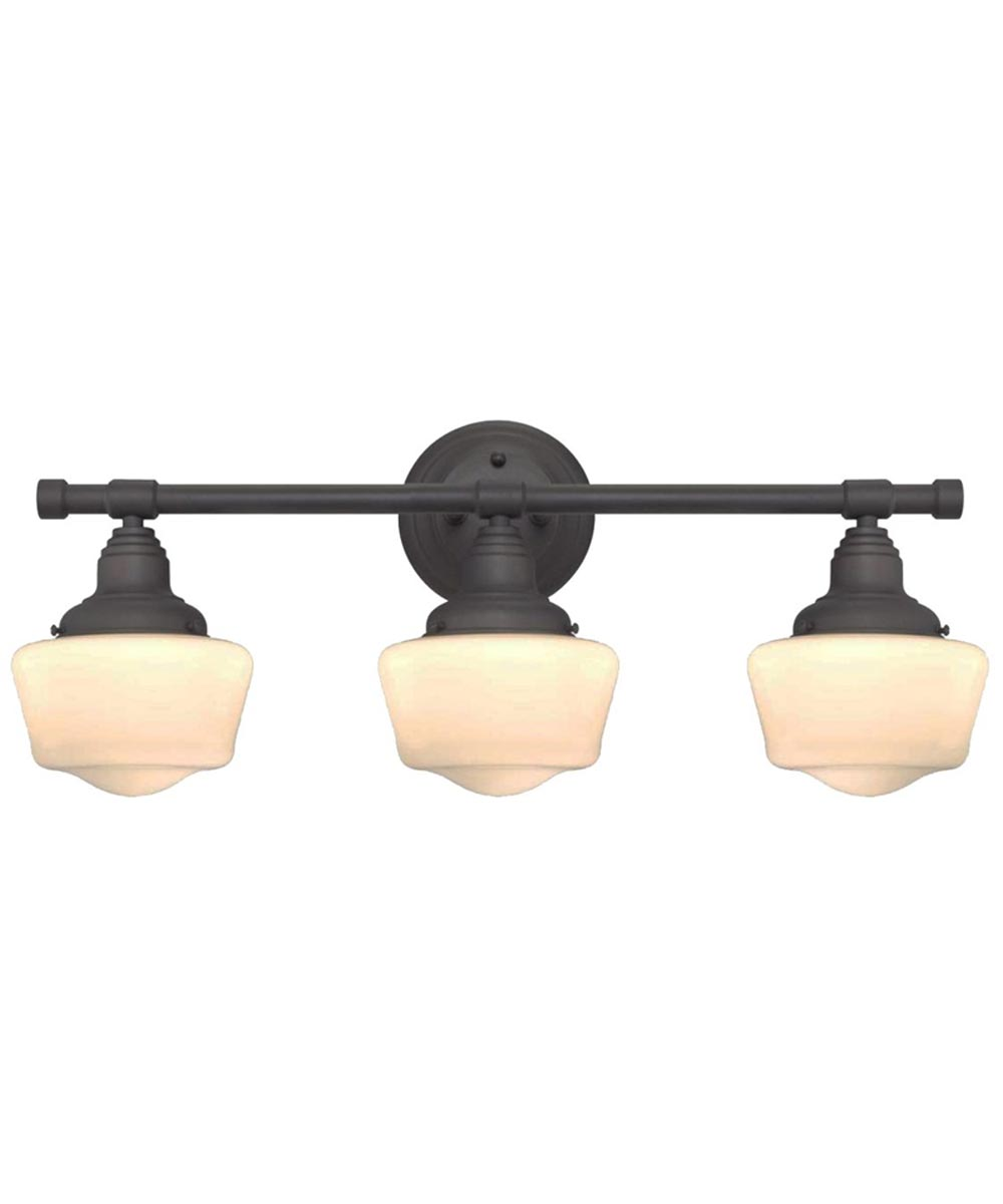 Westinghouse Scholar 3-Light Indoor Wall Fixture with White Opal Glass, Oil Rubbed Bronze