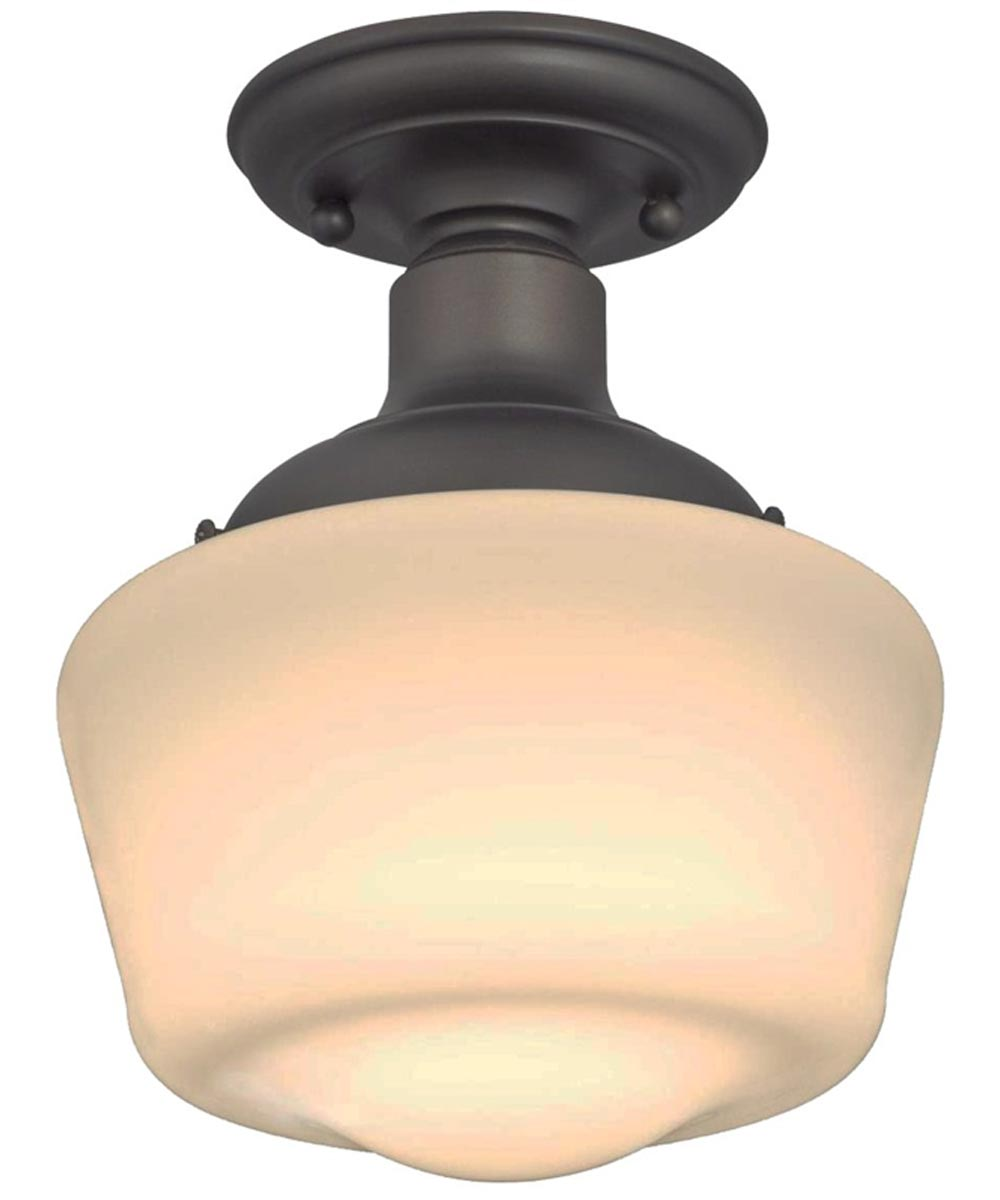 Westinghouse Scholar 1-Light Indoor Semi-Flush Ceiling Fixture with White Opal Glass, Oil Rubbed Bronze