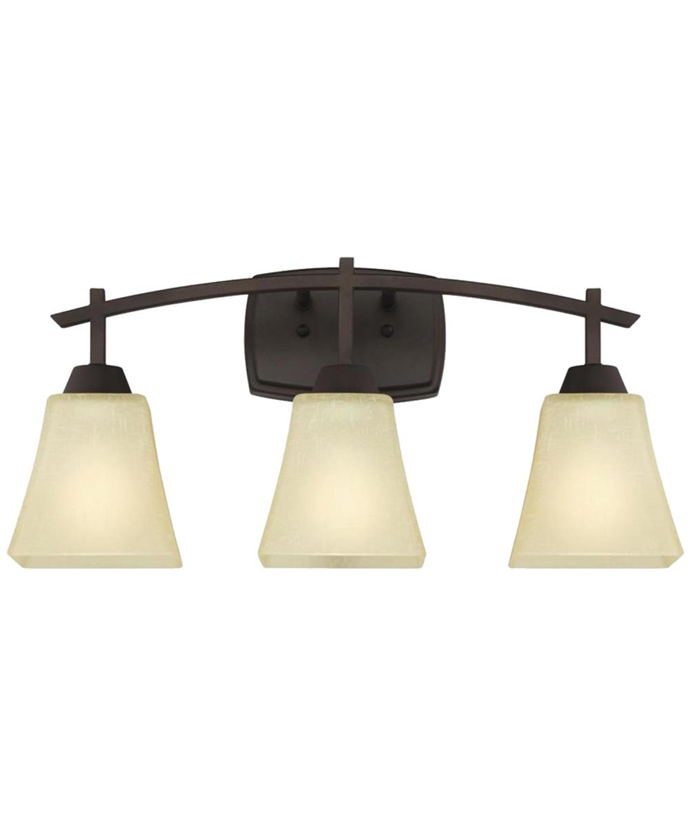 Westinghouse Midori 3-Light Indoor Wall Fixture with Amber Linen Glass, Oil Rubbed Bronze