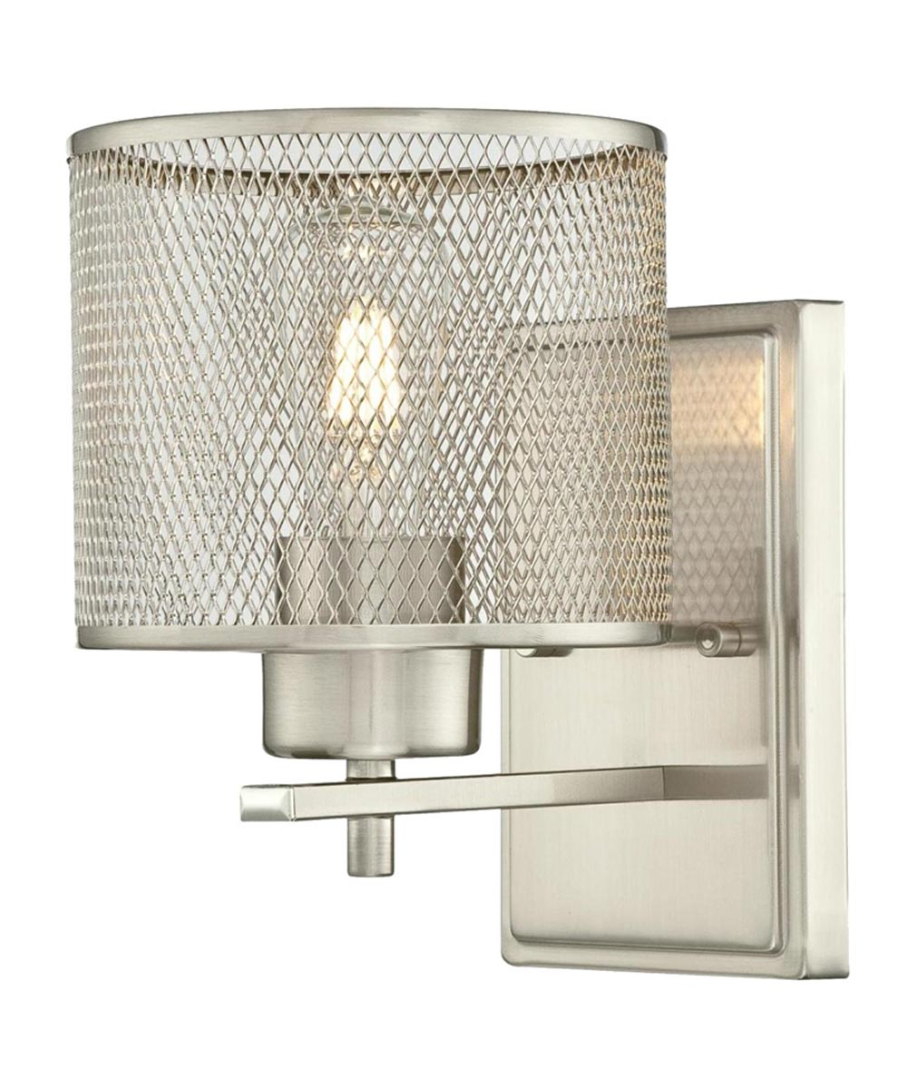 Westinghouse Morrison 1-Light Indoor Wall Fixture with Mesh Shade, Brushed Nickel