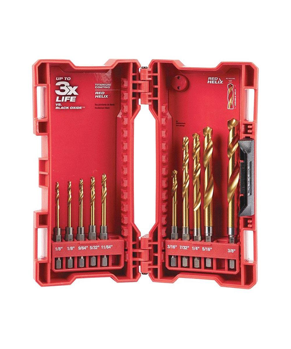 Milwaukee SHOCKWAVE RED HELIX 10 Piece Titanium Drill Bit Set