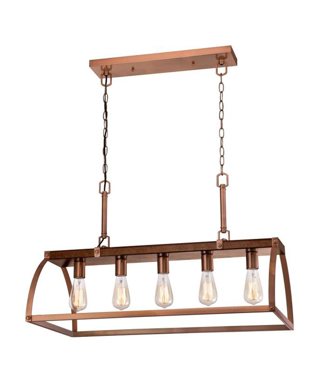 Westinghouse Oak Lane 5-Light Indoor Chandelier with Washed Copper Accents, Barnwood