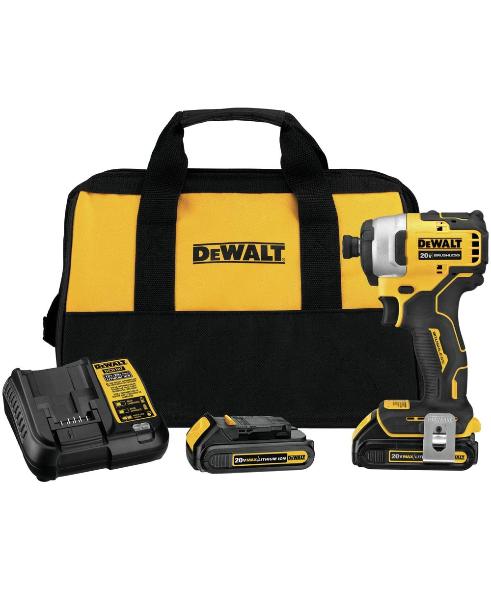DEWALT ATOMIC 20V MAX* Brushless Cordless Compact 1/4 in. Impact Driver Kit with Charger & 2 Batteries