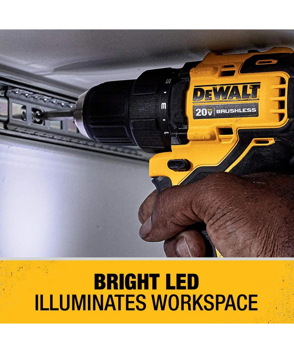 DEWALT ATOMIC 20V MAX* Brushless Cordless Compact 1/2 in. Drill/Driver Kit with Charger & 2 Batteries