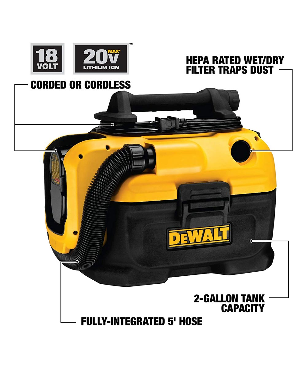 DEWALT 18V / 20V MAX* Cordless / Corded Wet-Dry Vacuum, Tool Only (No Battery or Charger)