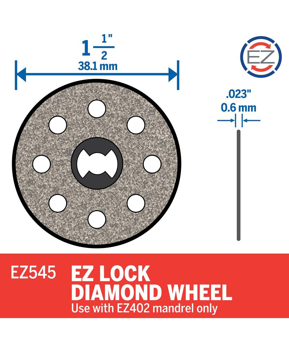 Dremel EZ545 Rotary 1-1/2 in. EZ Lock Diamond Wheel for Floor Tile, Ceramic