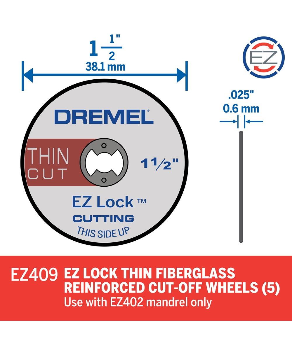 Dremel EZ409 Rotary 1-1/2 in. EZ Lock Cut-Off Wheel for Hard Metals, 5 Pack