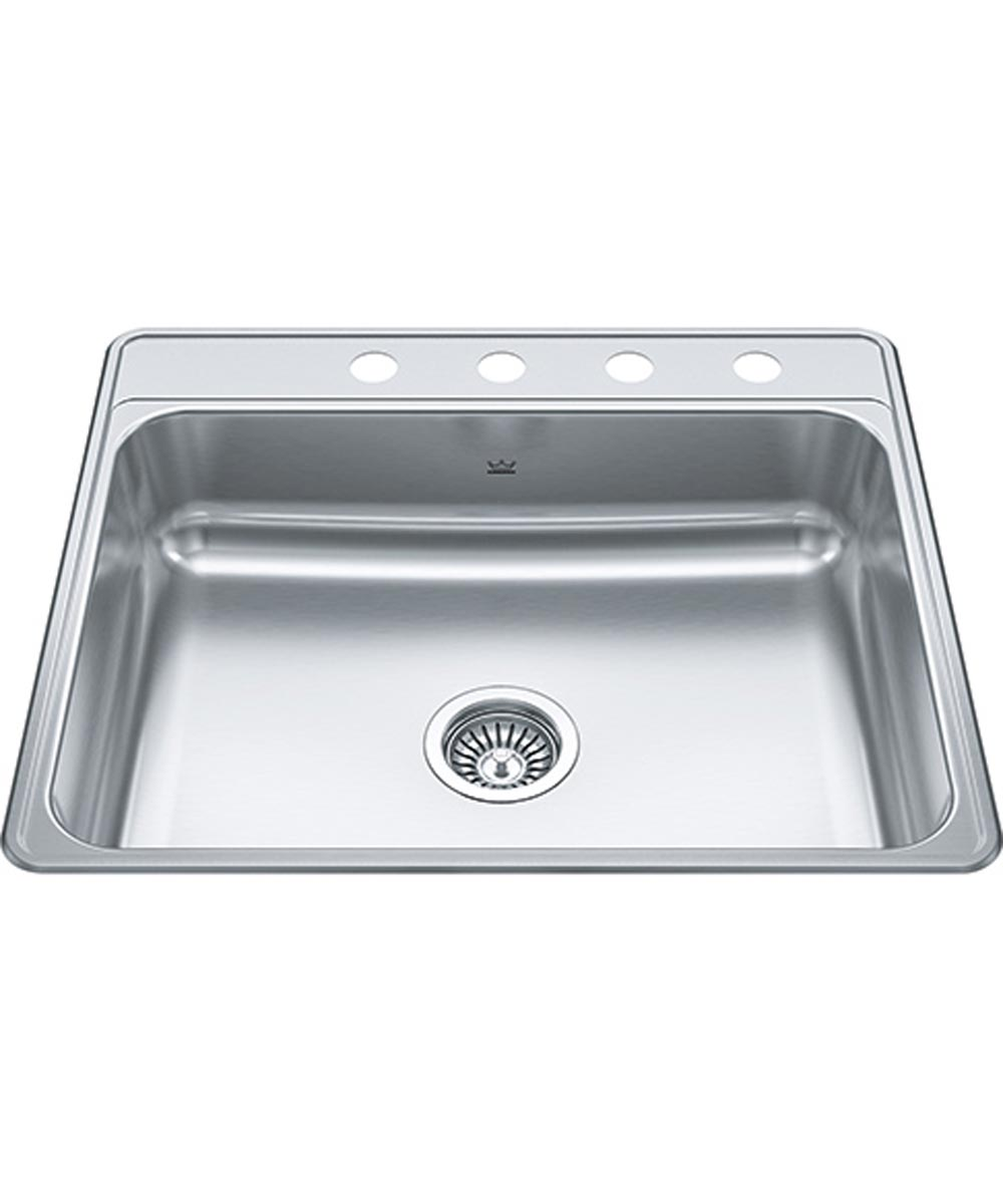 Kindred Creemore 25 in. x 22 in. x 6 in. Stainless Steel 4-Hole Top Mount Drop-In Single Bowl Kitchen Sink