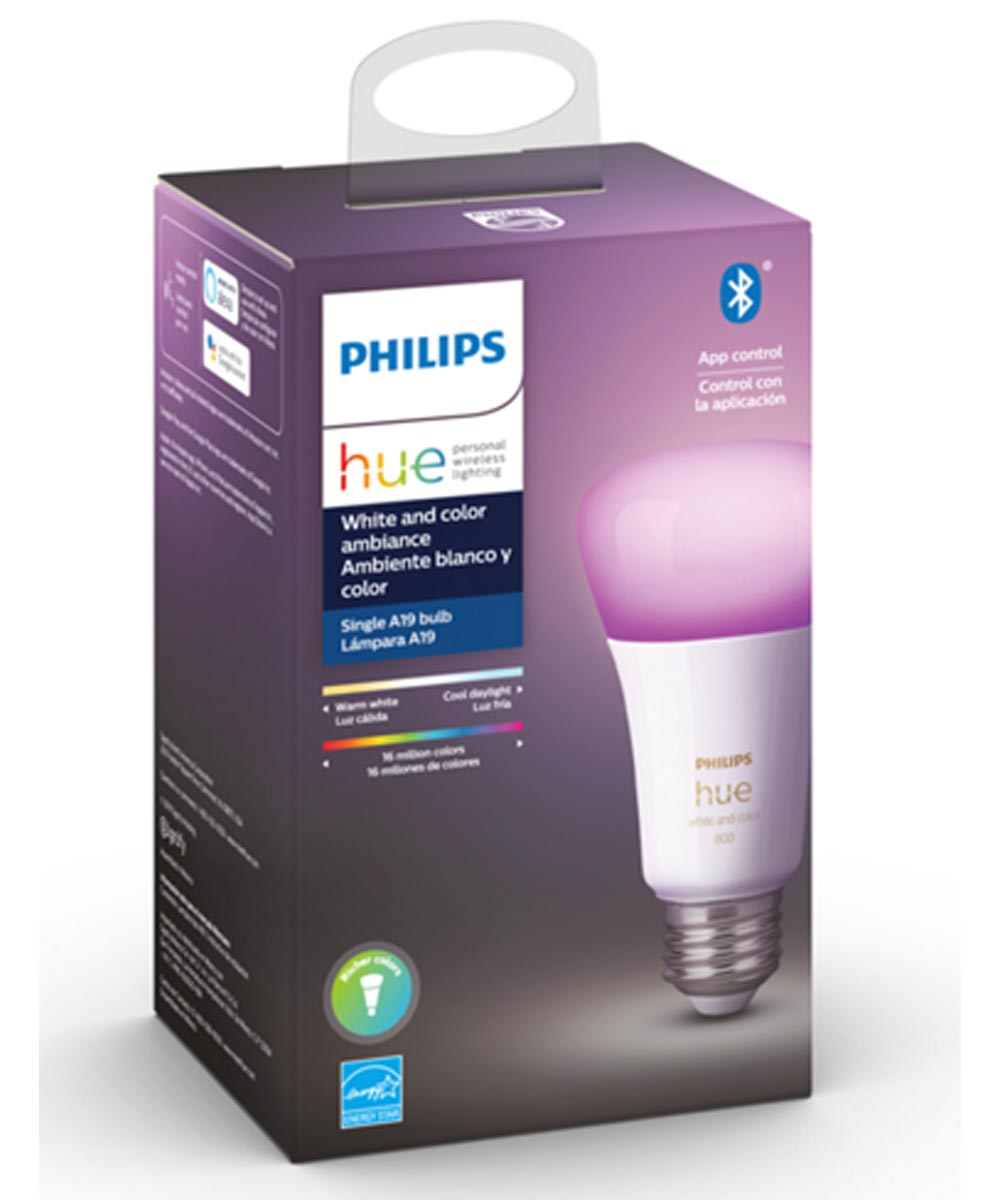 Philips Hue White & Color Ambiance A19 LED Smart Bulb (Bluetooth / Zigbee / Alexa / Google Assistant Compatible)