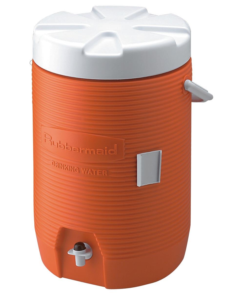 Water Cooler, 3 gal, Polyethylene, Orange Body/White Lid