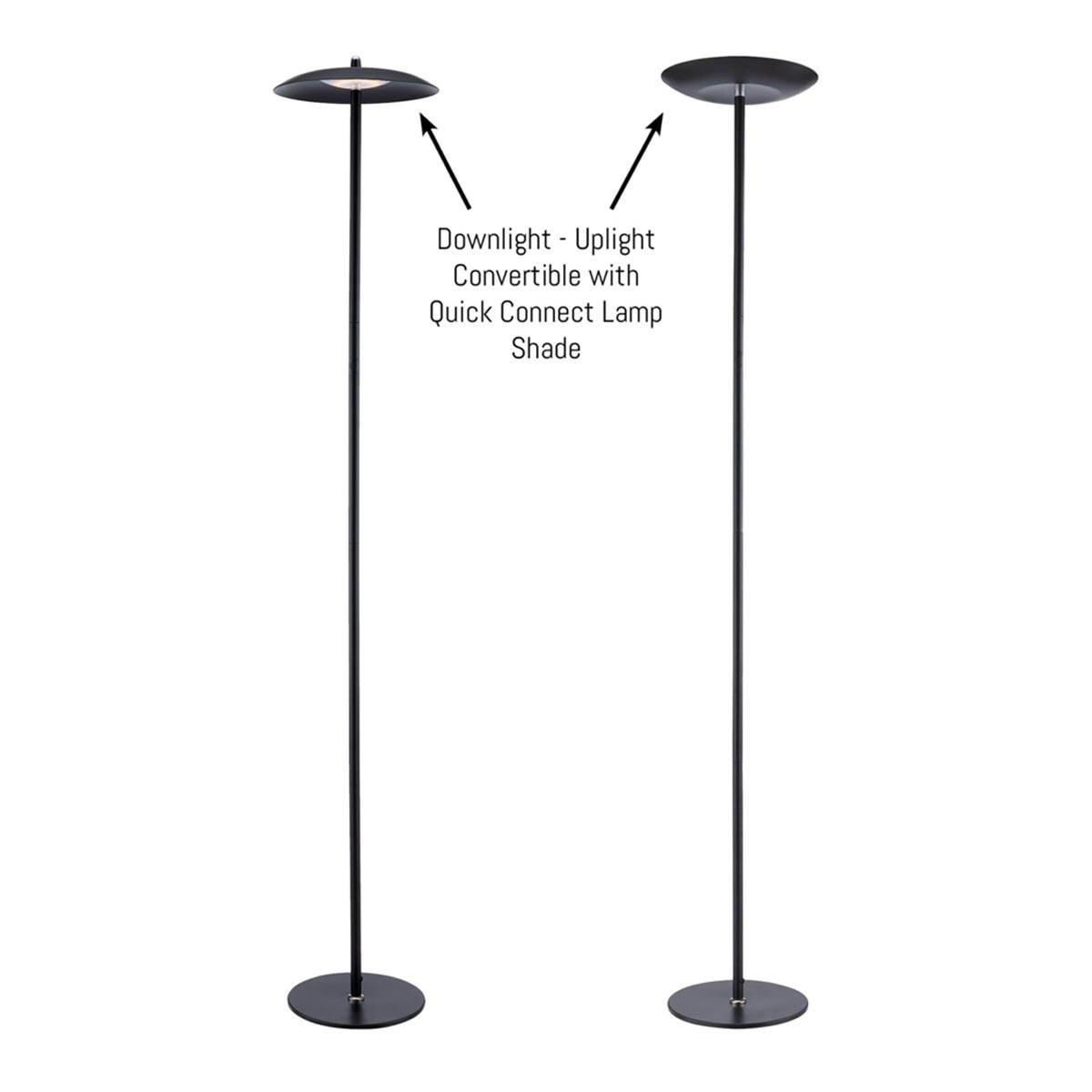 Torin LED Floor Lamp with Convertible Shade, Black