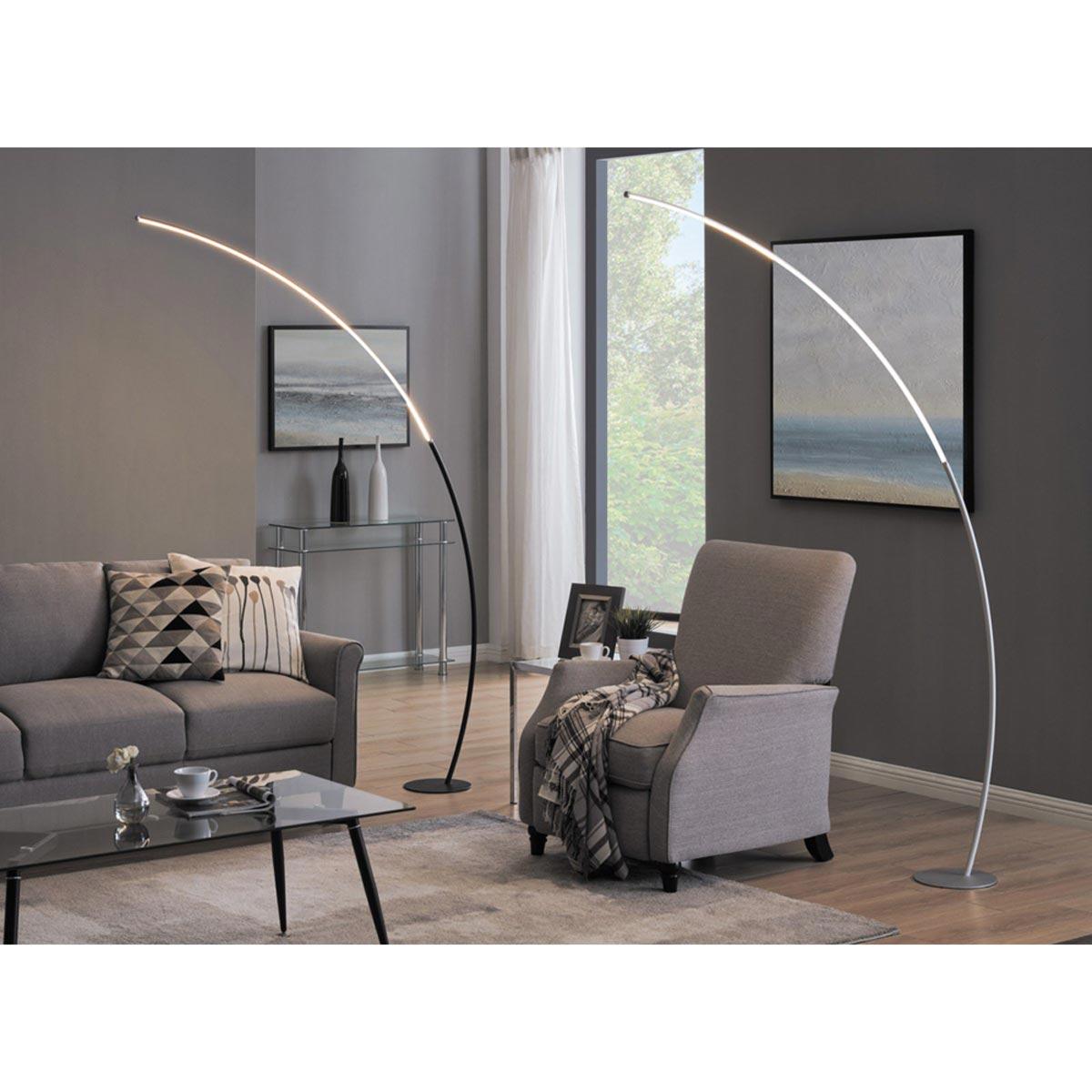 Monita Arc LED Floor Lamp, Silver