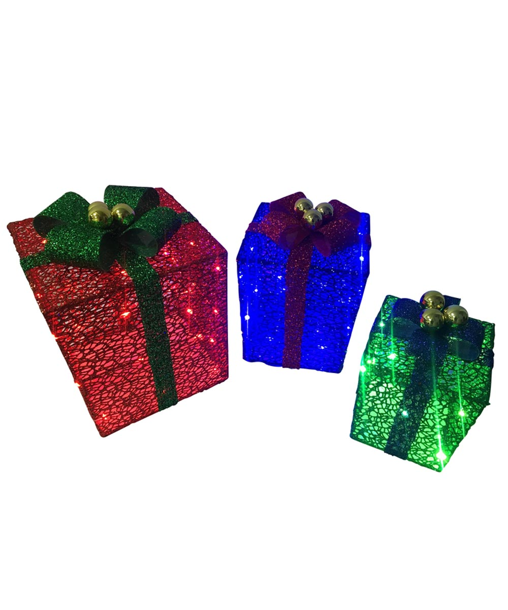 3 Piece LED Christmas Gift Boxes, Red / Blue / Green