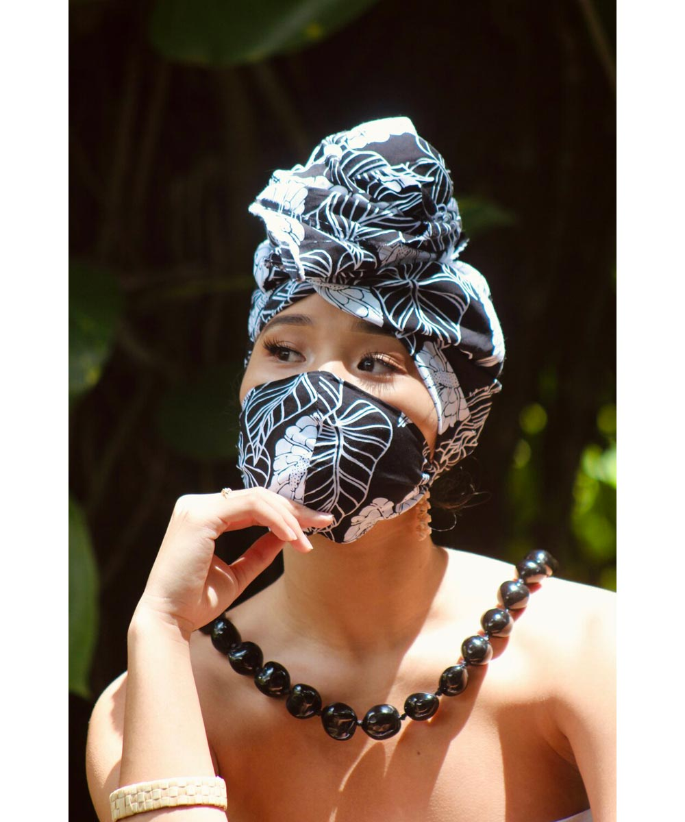 Reusable Fabric Face Mask, Black Anthurium