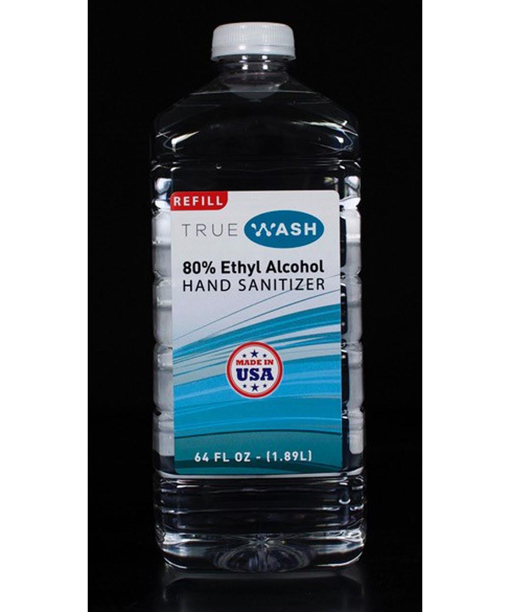 True Wash 80% Ethyl Alcohol Hand Sanitizer Refill, 64 oz.