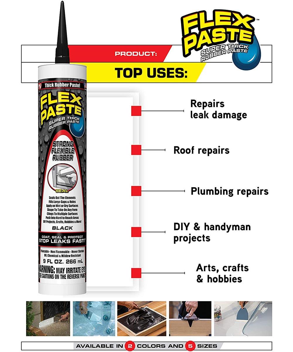 9 oz. Waterproof Flex Paste (Cartridge), Black