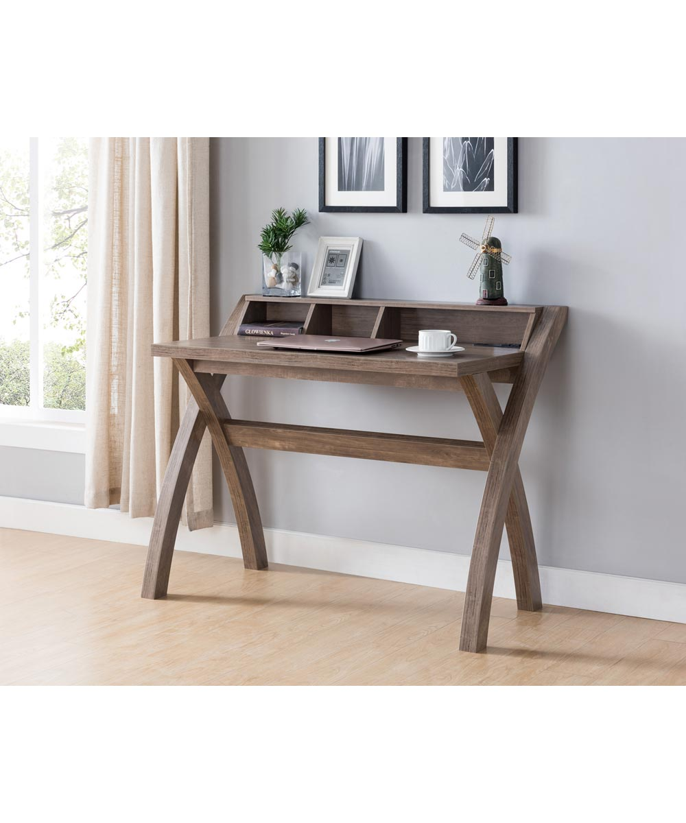 43.25 in. Wide Mini Hutch Office Desk with Outlet and USB Ports, Hazelnut