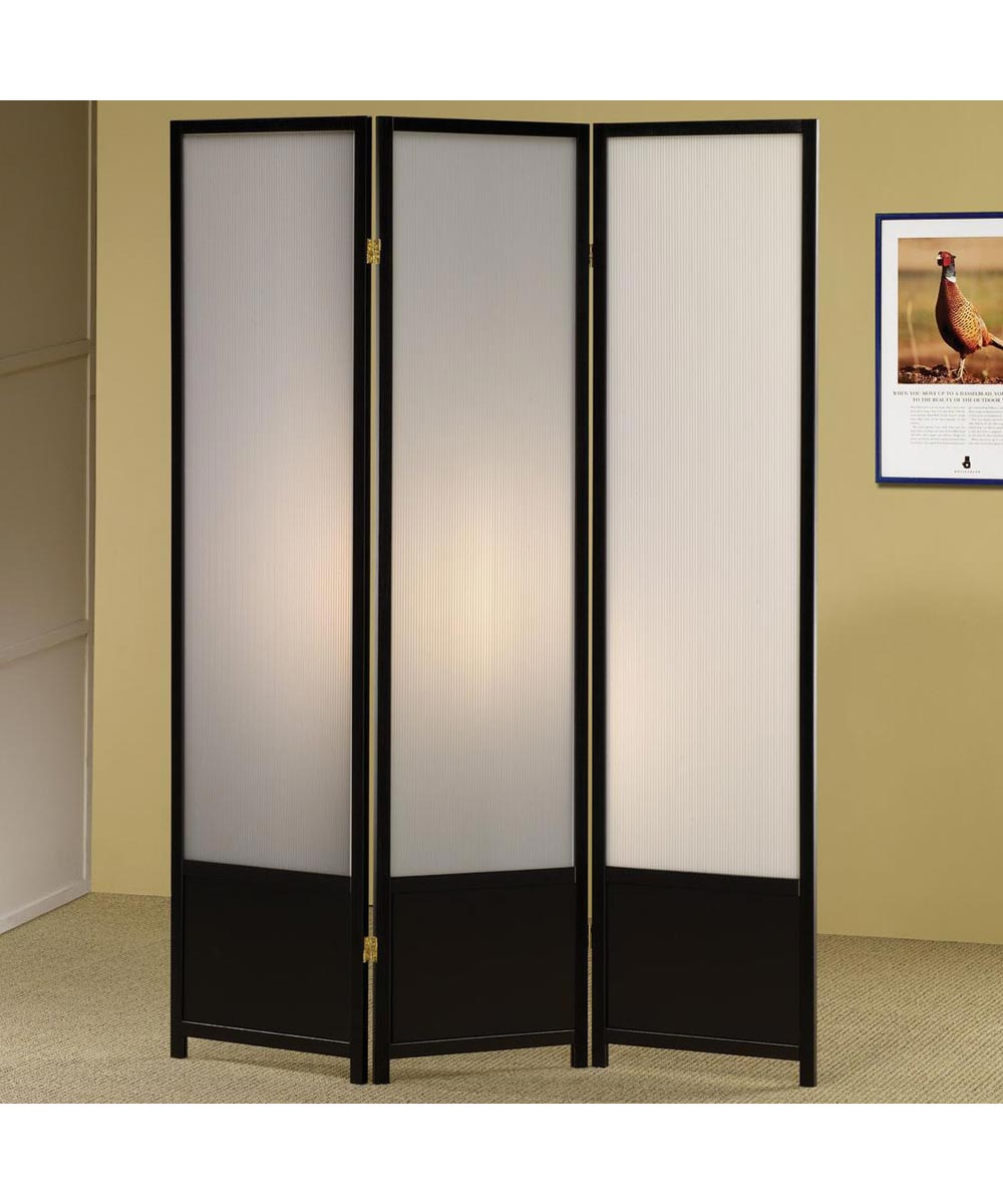 3 Panel Folding Screen Divider with Translucent Inserts, Black