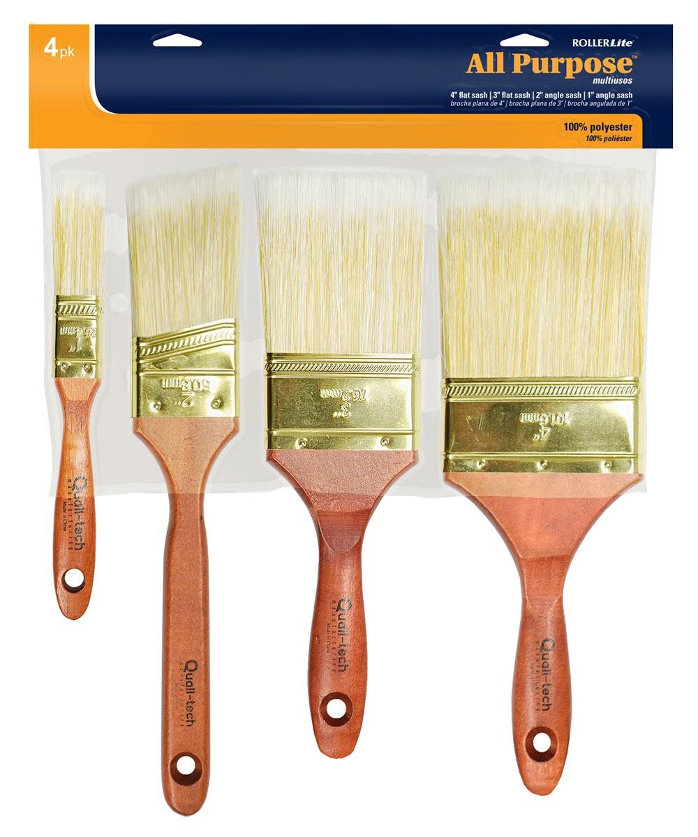 RollerLite 4-Piece All Purpose Polyester Paint Brush Set