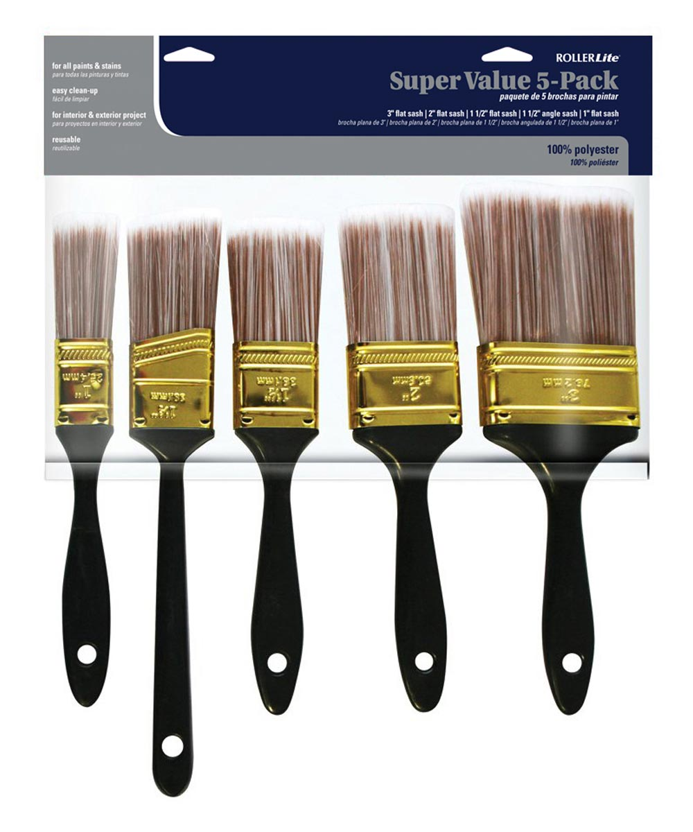 RollerLite 5-Piece Super Value Polyester Paint Brush Set