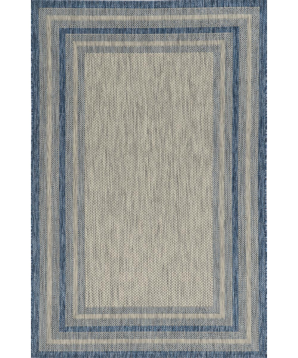 KAS 5 ft. 3 in. x 7 ft. 7 in. Provo Grey/Denim Cape Cod Area Rug