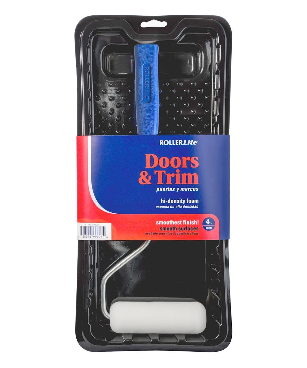 RollerLite  3-Piece Doors & Trim 4 in. Foam Mini Paint Roller Kit (1/2 in. Foam Roller Cover / Roller Frame / Plastic Tray)