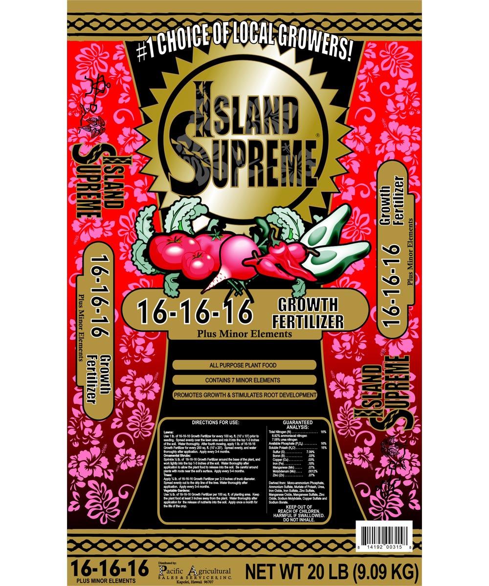 Island Supreme 20 lb. Growth Fertilizer, 16-16-16