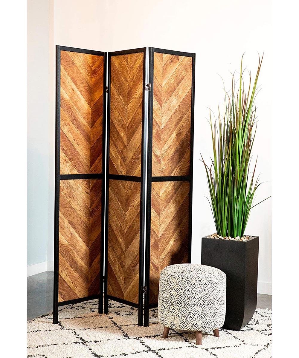 3-Panel Herringbone Shoji Screen, Rustic Tobacco & Black