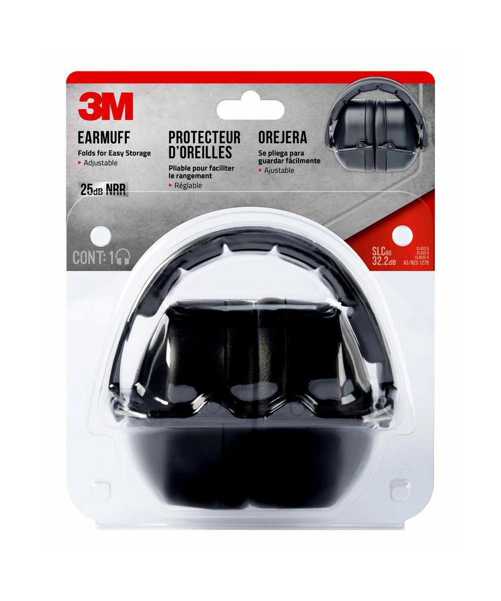 3M 25dB Adjustable Folding Earmuff, Black