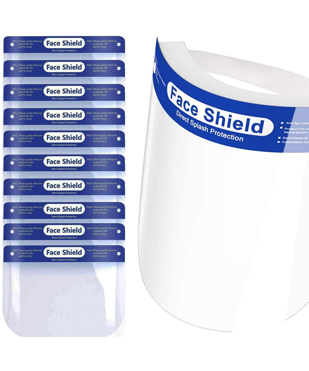 Reusable Adult Face Shield with Elastic Headband, 10 Pack