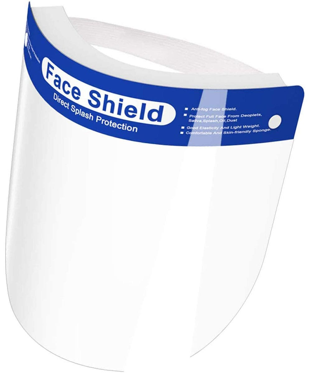 Reusable Adult Face Shield with Elastic Headband