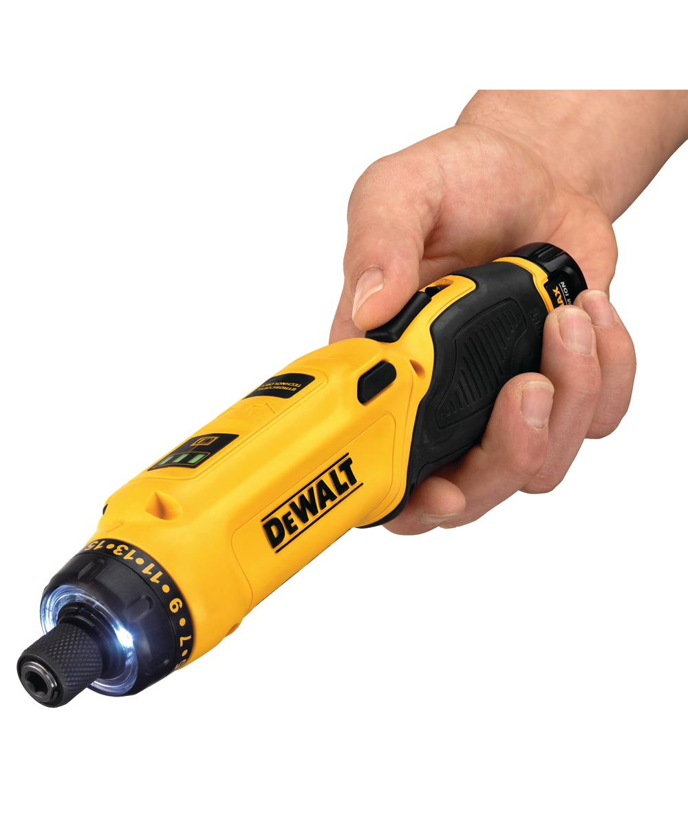 DEWALT 8V MAX* Cordless Gyroscopic Pistol Grip Electric Screwdriver Kit with Charger / 2 Batteries / Storage Bag