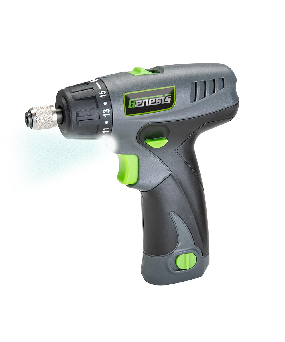 Genesis 8-Volt Lithium-Ion 2-Speed Pistol Grip Electric Screwdriver with LED Light & 8 Bits